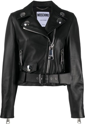 Moschino Belted Cropped Biker Jacket