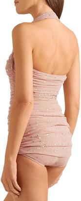 Norma Kamali Crystal-embellished Ruched Mesh Halterneck Swimsuit