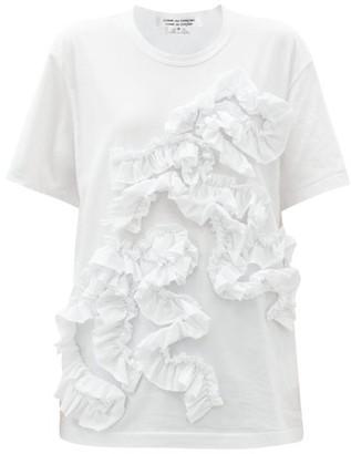 Comme des Garçons Comme des Garçons Ruffle-applique Cotton-jersey T-shirt - White