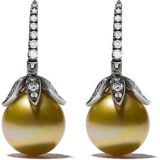 Annoushka 18kt white gold South Sea golden pearl and diamond small earrings