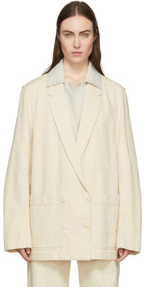 Lemaire Off-White Denim Double-Breasted Jacket