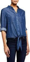 Velvet Heart Bali Tie-Front Chambray Top