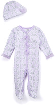 Baby Essentials Lilac & Silver Footie & Beanie - Infant