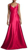 Black Halo Sleeveless V-Neck Godet Ball Gown