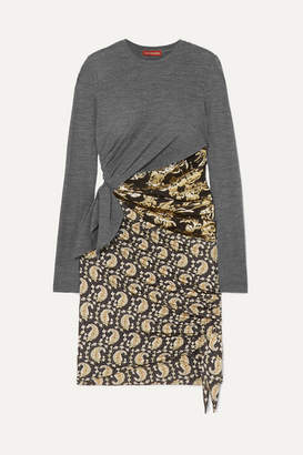 Altuzarra Belinda Wool-jersey, Brocade And Paisley-print Silk-blend Crepe Mini Dress - Black