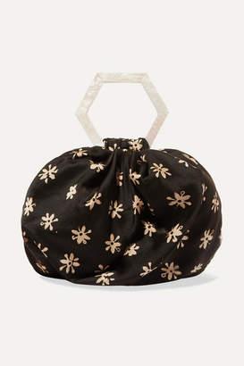 Kayu Net Sustain Suki Floral-print Silk Tote - Dark brown