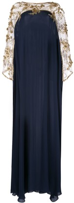 Marchesa Embroidered Floral Draped Kaftan Dress