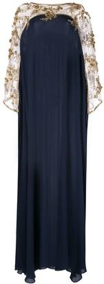 Marchesa x Ramadan embroidered floral draped kaftan dress