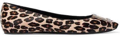 Roger Vivier Bellerine Embellished Leopard-print Calf Hair Ballet Flats - Leopard print