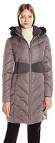 T Tahari Women's Penelope Long Fitted Down Coat with Detachable Hood