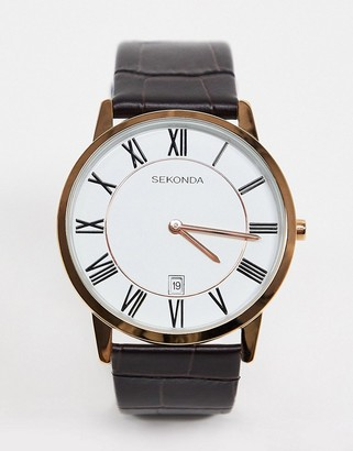 Sekonda leather watch in brown with white dial