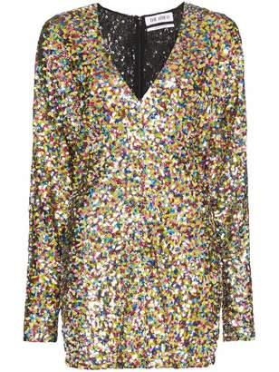 ATTICO V Neck Sequin Mini Dress