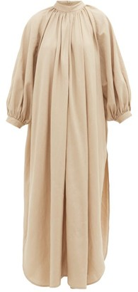 BEIGE Marrakshi Life - Gathered-neck Cotton-blend Maxi Dress - Womens