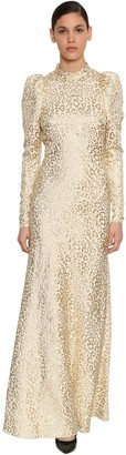 Temperley London Silk Lame Leopard Jacquard Long Dress