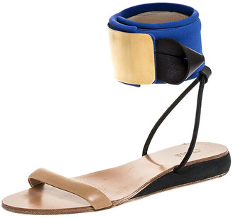 Chloé Blue/Beige Leather And Nylon Ankle Cuff Flat Sandals Size 38