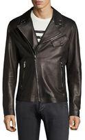 Versace Eyelet Leather Bomber Jacket