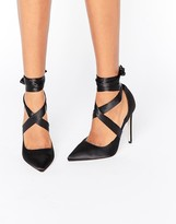 Asos PINO Satin Lace Up Pointed Heels