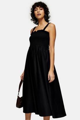 Topshop Womens Black Shirred Poplin Bodice Pinafore Dress - Black