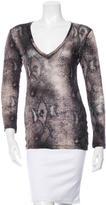 Samantha Sung Wool & Silk-Blend Snakeskin Print Top
