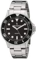 Peugeot Men's Sports Watch with Rotating Bezel Pro Dive Black Dial & Stainless Steel Bracelet