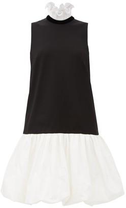 Givenchy Drop-waisted Bubble-hem Dress - Womens - Black White