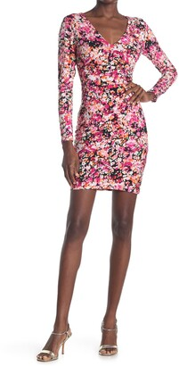 GUESS Floral V-Neck Long Sleeve Bodycon Dress