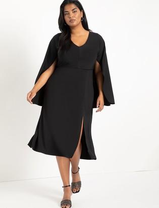 ELOQUII Cape Midi Dress With Slit