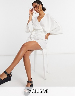 South Beach Exclusive beach wrap top and skirt in white