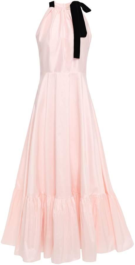 Roksanda Bow-detailed Ruffle-trimmed Taffeta Midi Dress