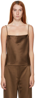 Nanushka Brown Satin Johar Tank Top