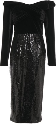 Marchesa Off-the-shoulder Ruched Velvet-paneled Sequined Tulle Midi Dress
