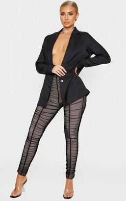 ASA Trad Black Ruched Mesh Layered Trouser