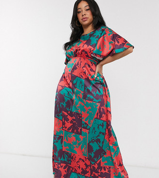 Twisted Wunder Plus Exclusive tea maxi dress in contrasting patchwork print
