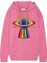 Gucci Appliquéd Cotton-jersey Hooded Top - Pink