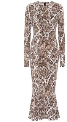 Norma Kamali Snake-print jersey dress