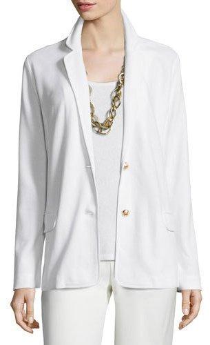 Joan Vass Two-Button Pique Blazer, White