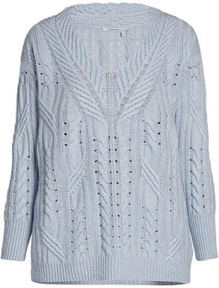 Agnona Cashmere & Linen Cable Knit Sweater