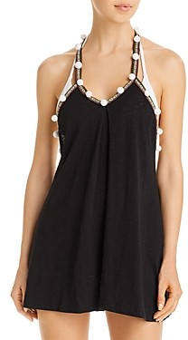 Pitusa Pom Pom Trim Caged-Back Swim Cover-Up