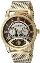Akribos XXIV Men's AK846YG Round Silver and Brown Dial Three Hand Retrograde Quartz Gold Tone Bracelet Watch
