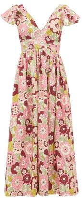 Dodo Bar Or Jenny Ruffled Floral-print Twill Dress - Womens - Pink Print