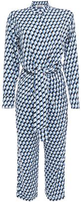 Diane von Furstenberg Cropped Wrap-effect Printed Crepe Jumpsuit