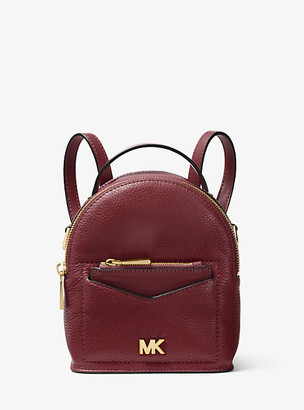 MICHAEL Michael Kors MK Jessa Extra-Small Pebbled Leather Convertible Backpack - Oxblood - Michael Kors
