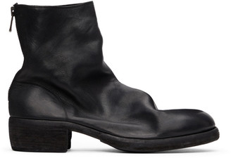 Guidi Black Back Zip-Up Heel Boots