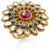 Amrapali Women's 18K Gold Diamond, Turquoise & Ruby Ring
