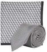 Burton Mens Grey City Sport Tie and Pocket Square Set