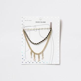 River Island Girls Gold tone 'Love' pearl wallet chain