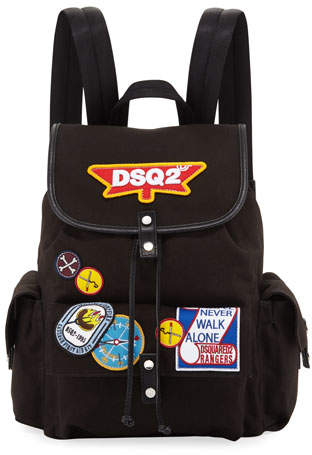 DSQUARED2 Camp Patch Leather-Trim Canvas Backpack