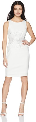 Calvin Klein Women's Petite Embellished Color Block Sheath Dress