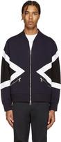 Neil Barrett Blue Modernist Bomber Zip-Up Sweater