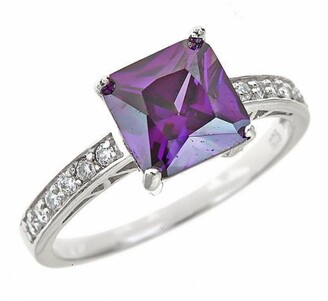Sterling Forever Sterling Silver Amethyst CZ Princess Cut Engagement Ring